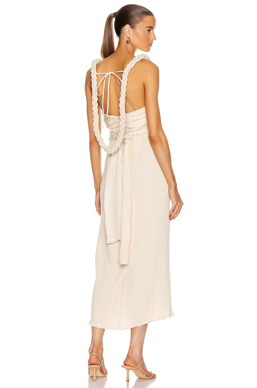 Image 1 of Johanna Ortiz Sentimental Water Draped Midi Dress in Ecru