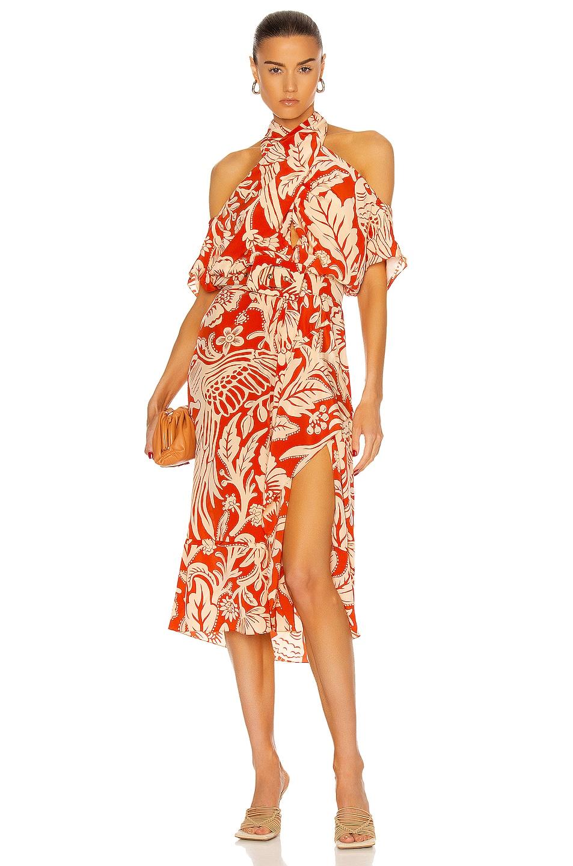 Image 1 of Johanna Ortiz Intertropical Midi Dress in Colonial Lava Red