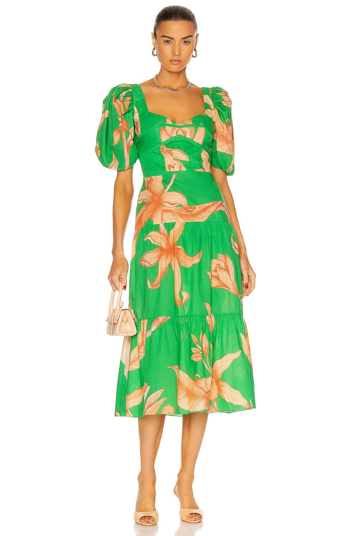 Image 1 of Johanna Ortiz Colorful Culture Midi Dress in Emerald Green