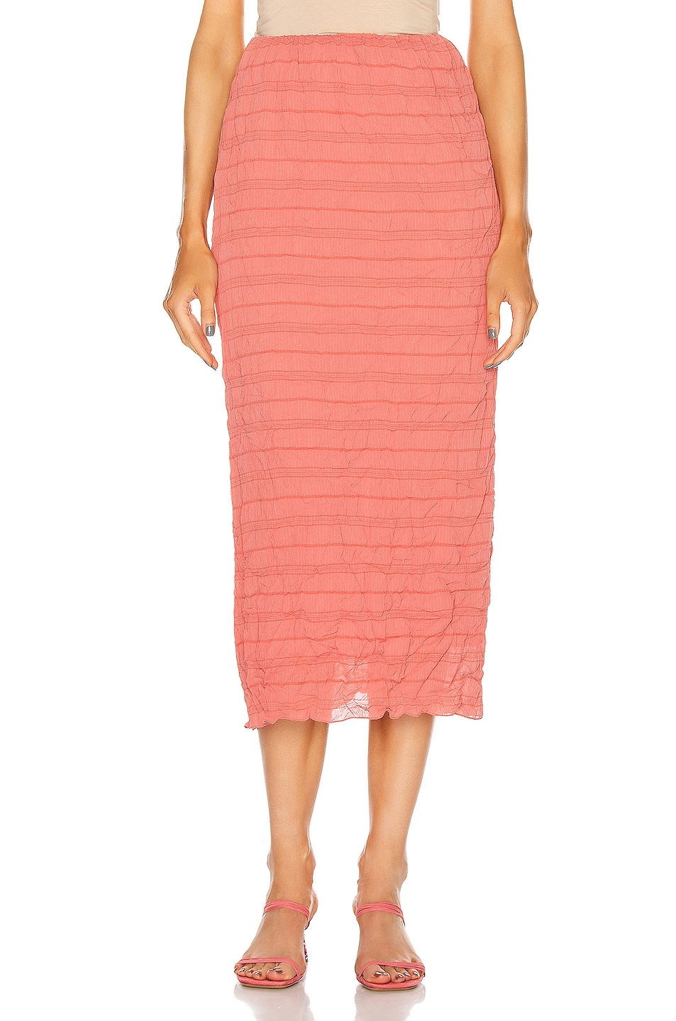 Image 1 of Johanna Ortiz Smooth Illusion Ruched Midi Skirt in Vintage Rose