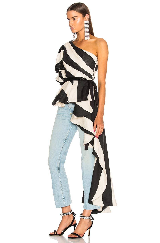 Image 3 of Johanna Ortiz Sur del Lago Striped Linen Top in Night Black & Ivory