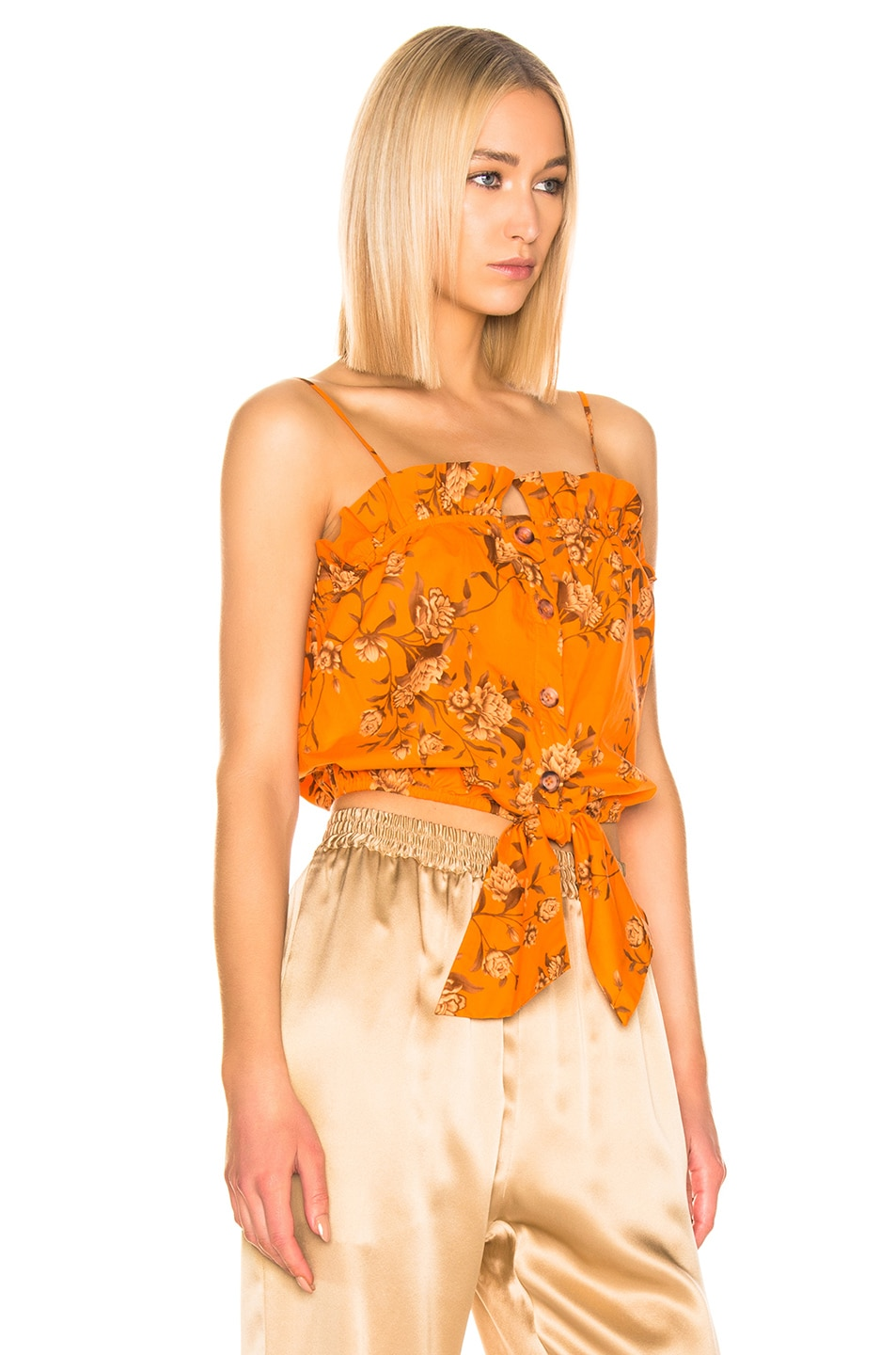 Image 2 of Johanna Ortiz Feu De Bois Top in Monk Orange & Camel
