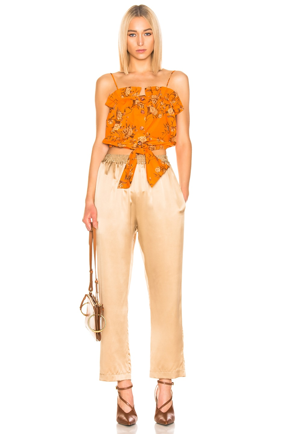 Image 4 of Johanna Ortiz Feu De Bois Top in Monk Orange & Camel