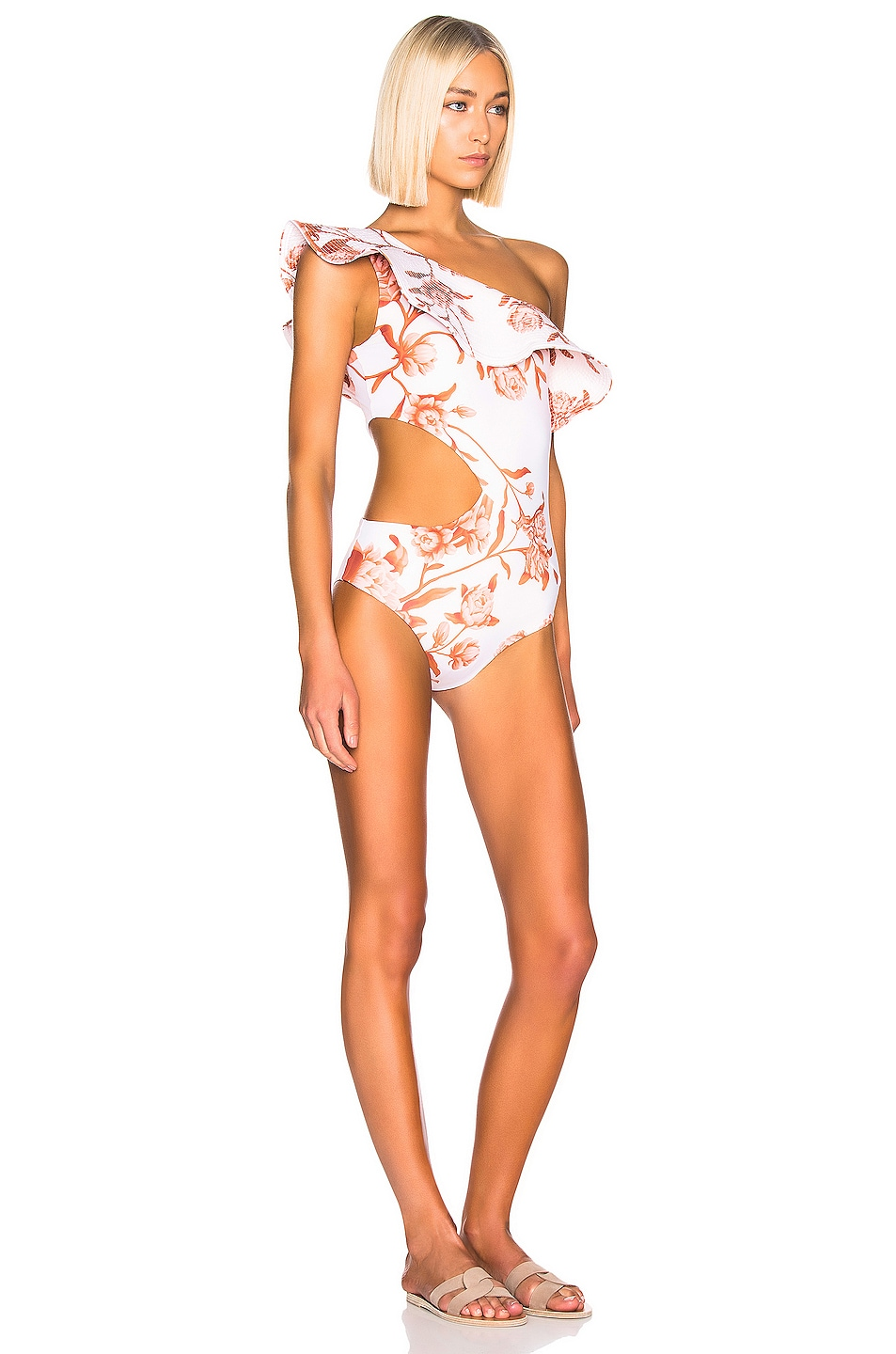 Image 2 of Johanna Ortiz Leyenda Tropical One Piece in White & Burnt Umber