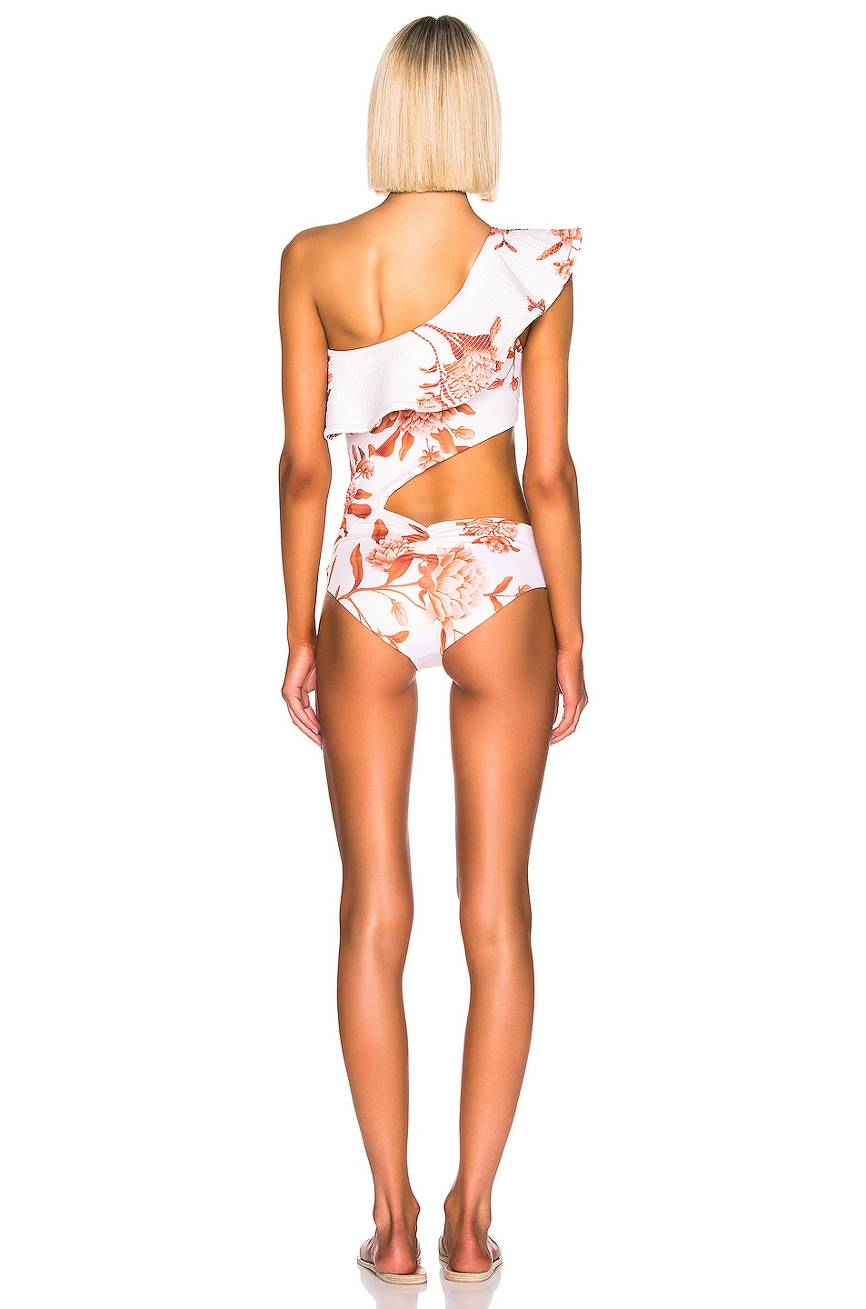 Image 4 of Johanna Ortiz Leyenda Tropical One Piece in White & Burnt Umber
