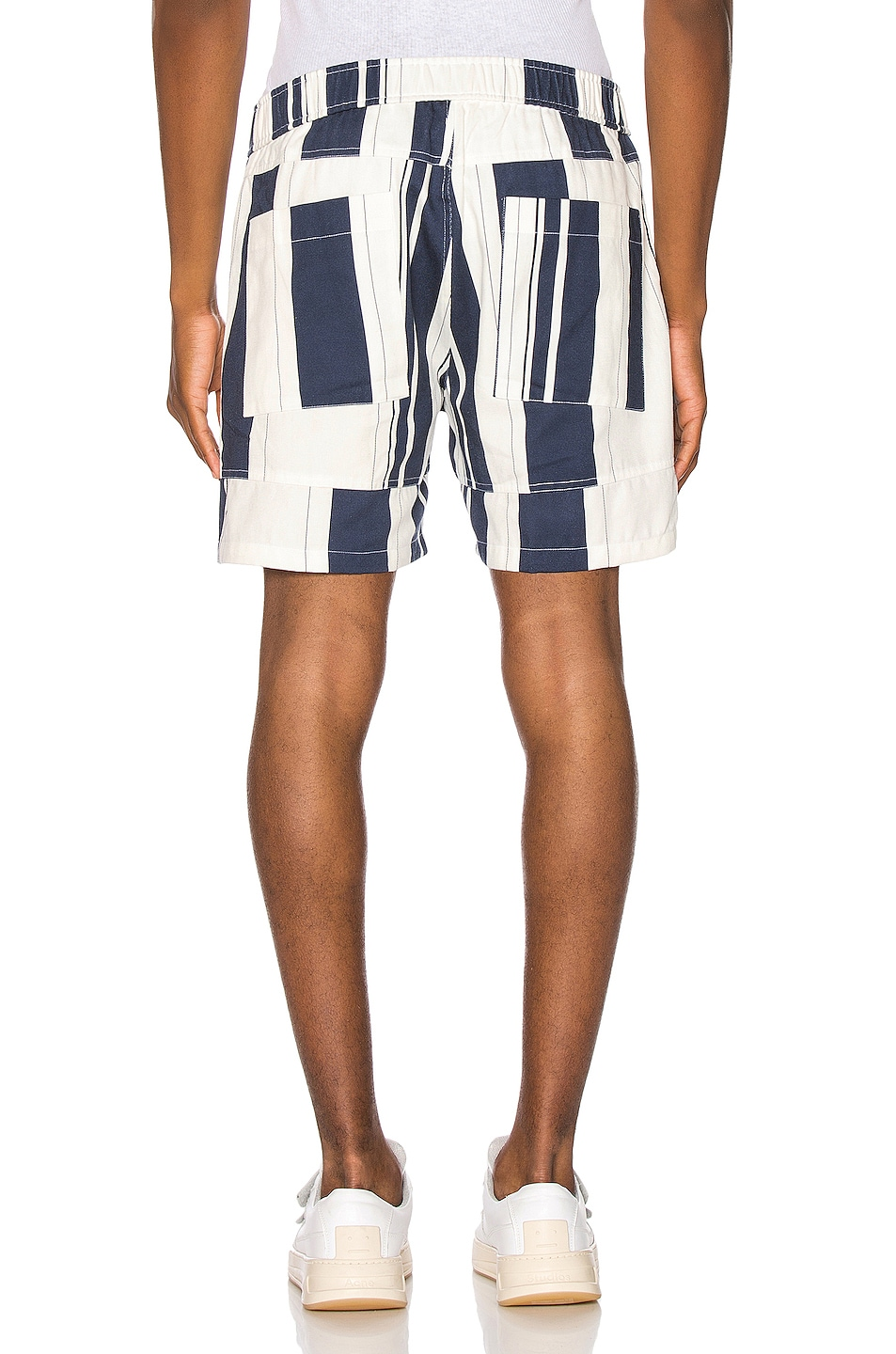 Image 4 of JACQUEMUS Striped Shorts in White & Blue