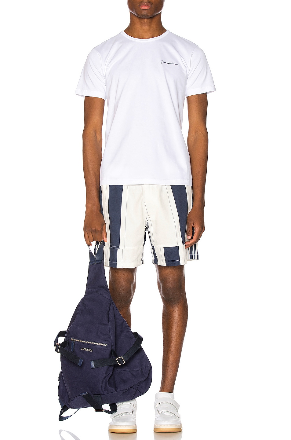 Image 5 of JACQUEMUS Striped Shorts in White & Blue