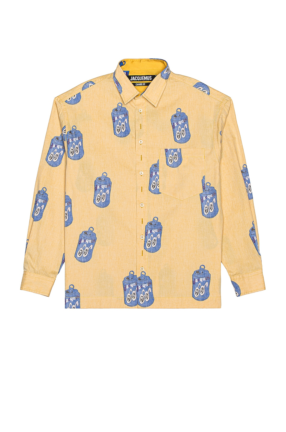 Image 1 of JACQUEMUS Jacques Long Sleeve Button Down in Yellow Can