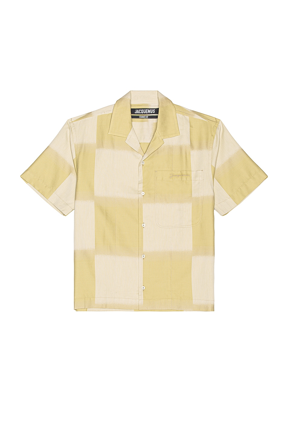Image 1 of JACQUEMUS Jean Short Sleeve Button Down in Khaki Squares