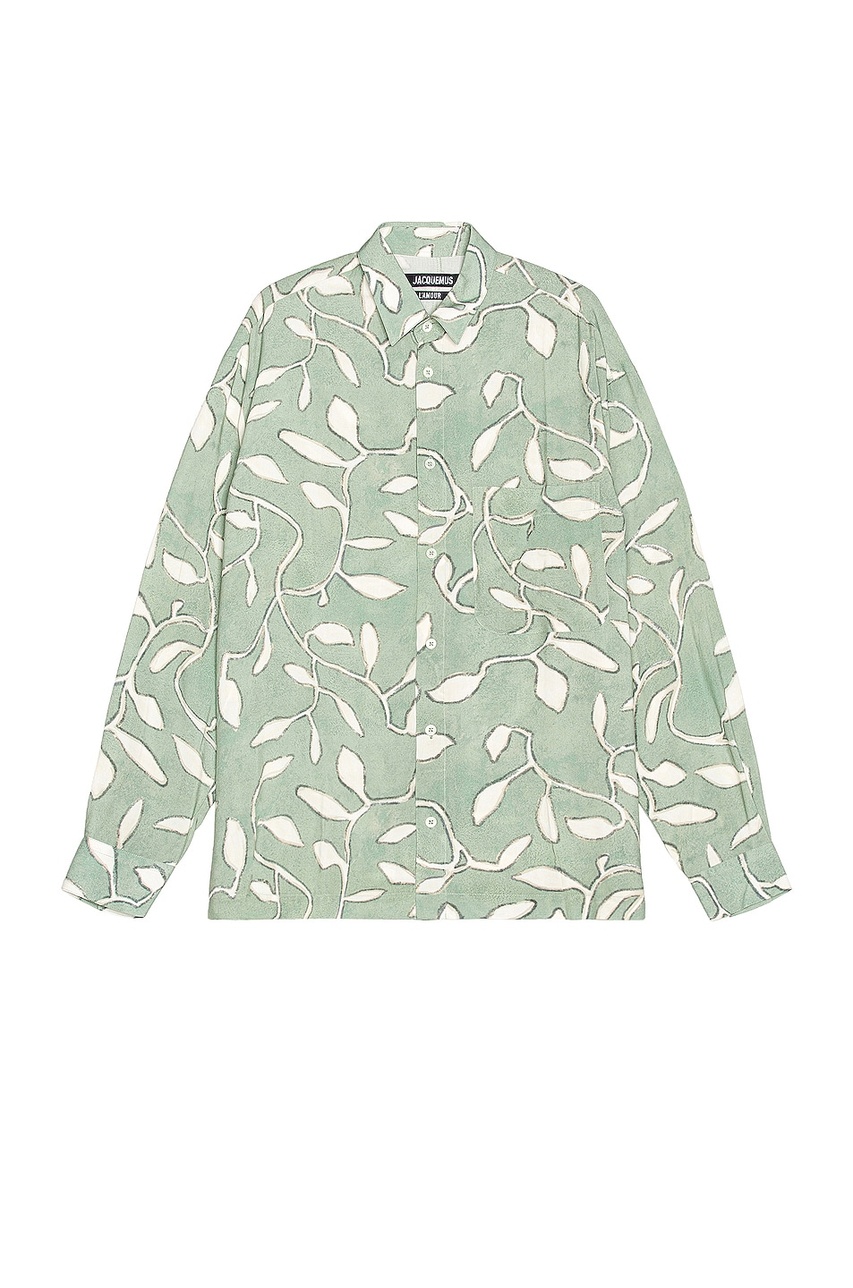 Image 1 of JACQUEMUS La Chemise Baou in Print Green Leaves