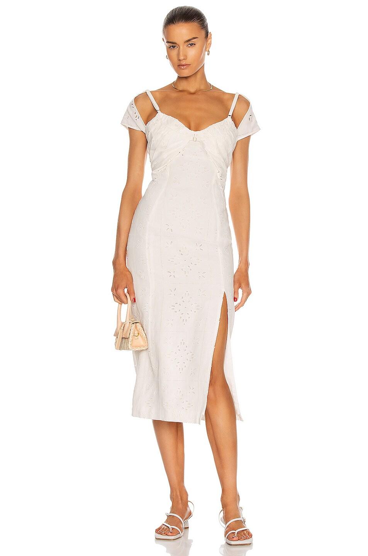 Image 1 of JACQUEMUS La Robe Tovallo in Ecru Embroidery
