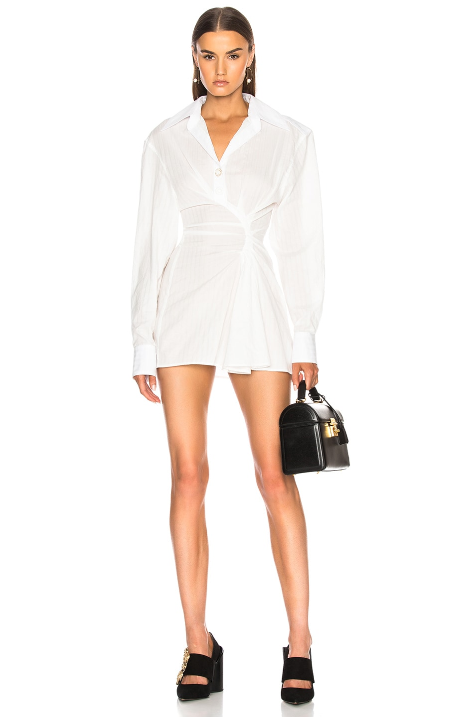 Image 1 of JACQUEMUS Gathered Shirt Dress in Off White