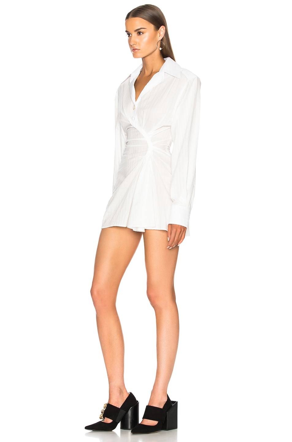 Image 3 of JACQUEMUS Gathered Shirt Dress in Off White