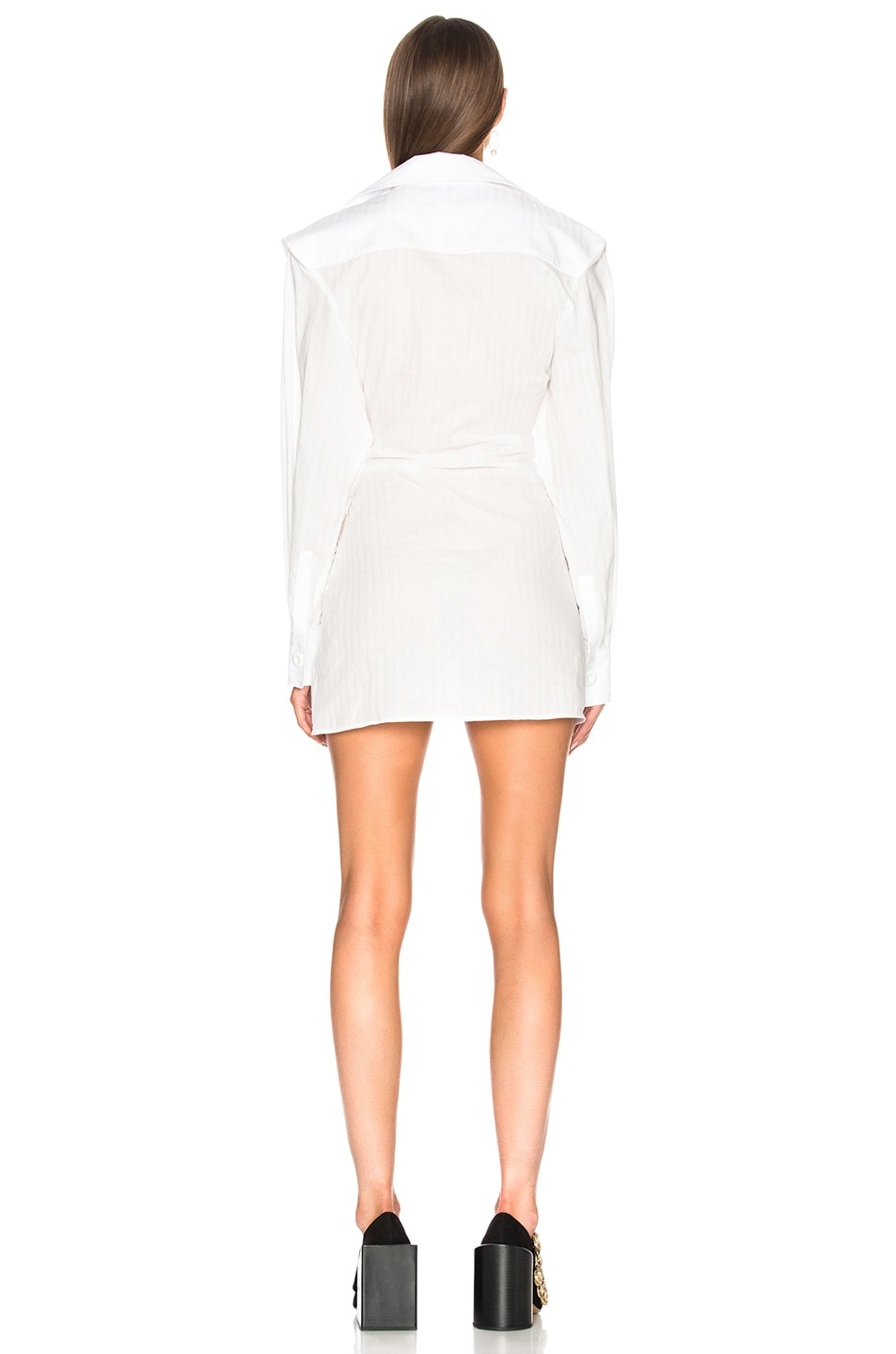 Image 4 of JACQUEMUS Gathered Shirt Dress in Off White