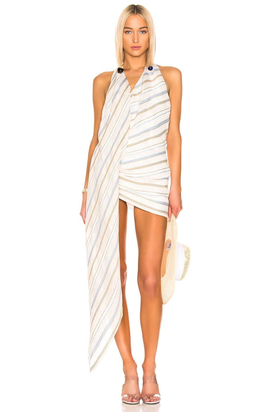 Image 1 of JACQUEMUS Spezzia Dress in Beige Stripes
