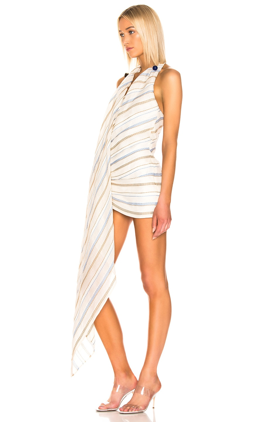 Image 3 of JACQUEMUS Spezzia Dress in Beige Stripes
