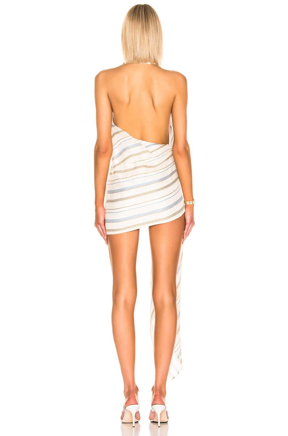 Image 4 of JACQUEMUS Spezzia Dress in Beige Stripes