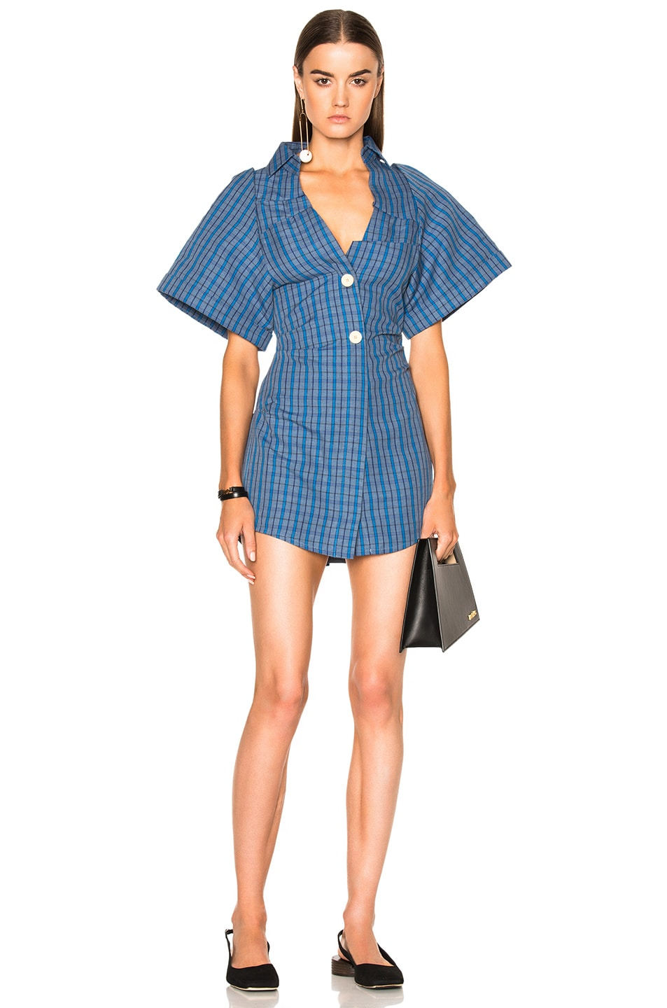 Image 1 of JACQUEMUS Short Sleeve Dress in Blue Check