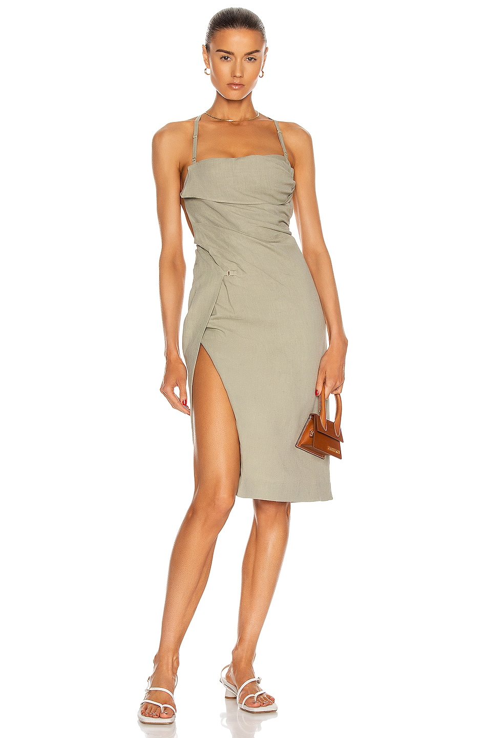 Image 1 of JACQUEMUS La Robe Laurier in Sage Green