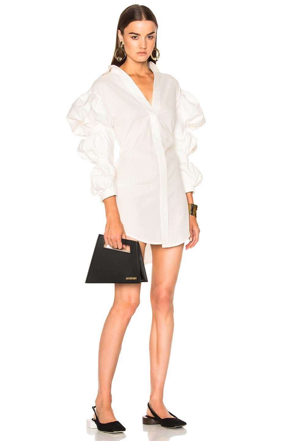 Image 1 of JACQUEMUS Ruched Sleeve Dress in Ecru