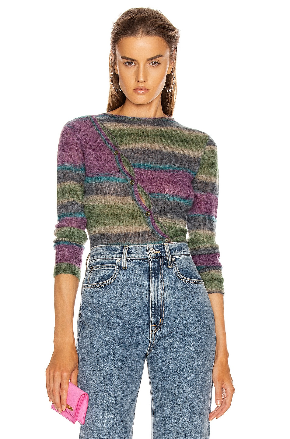 Image 1 of JACQUEMUS Paul Sweater in Stripe Purple