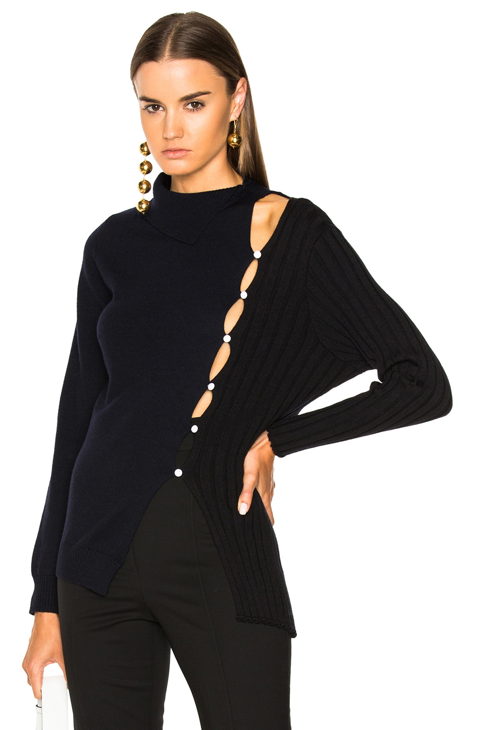 Image 1 of JACQUEMUS Asymmetrical Sweater in Black & Navy