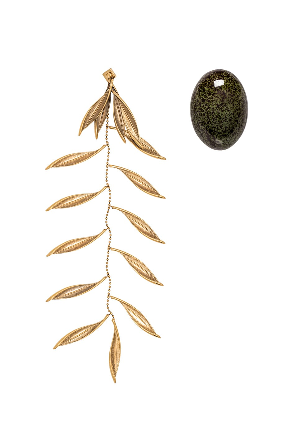 Image 1 of JACQUEMUS Olive Earrings in Green & Gold