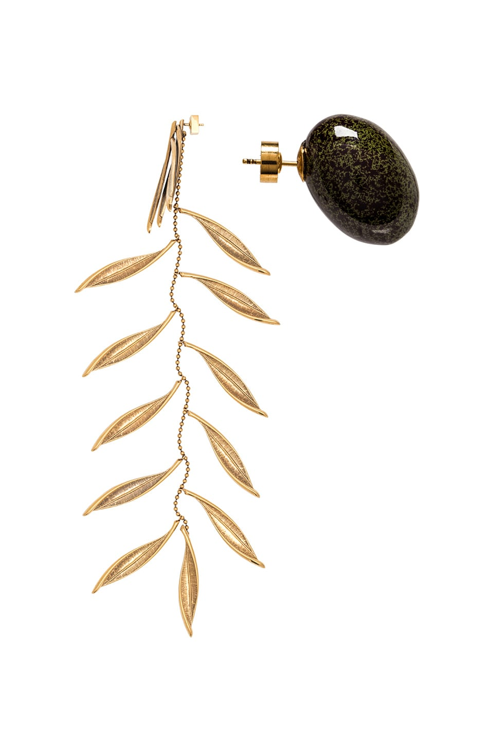 Image 2 of JACQUEMUS Olive Earrings in Green & Gold