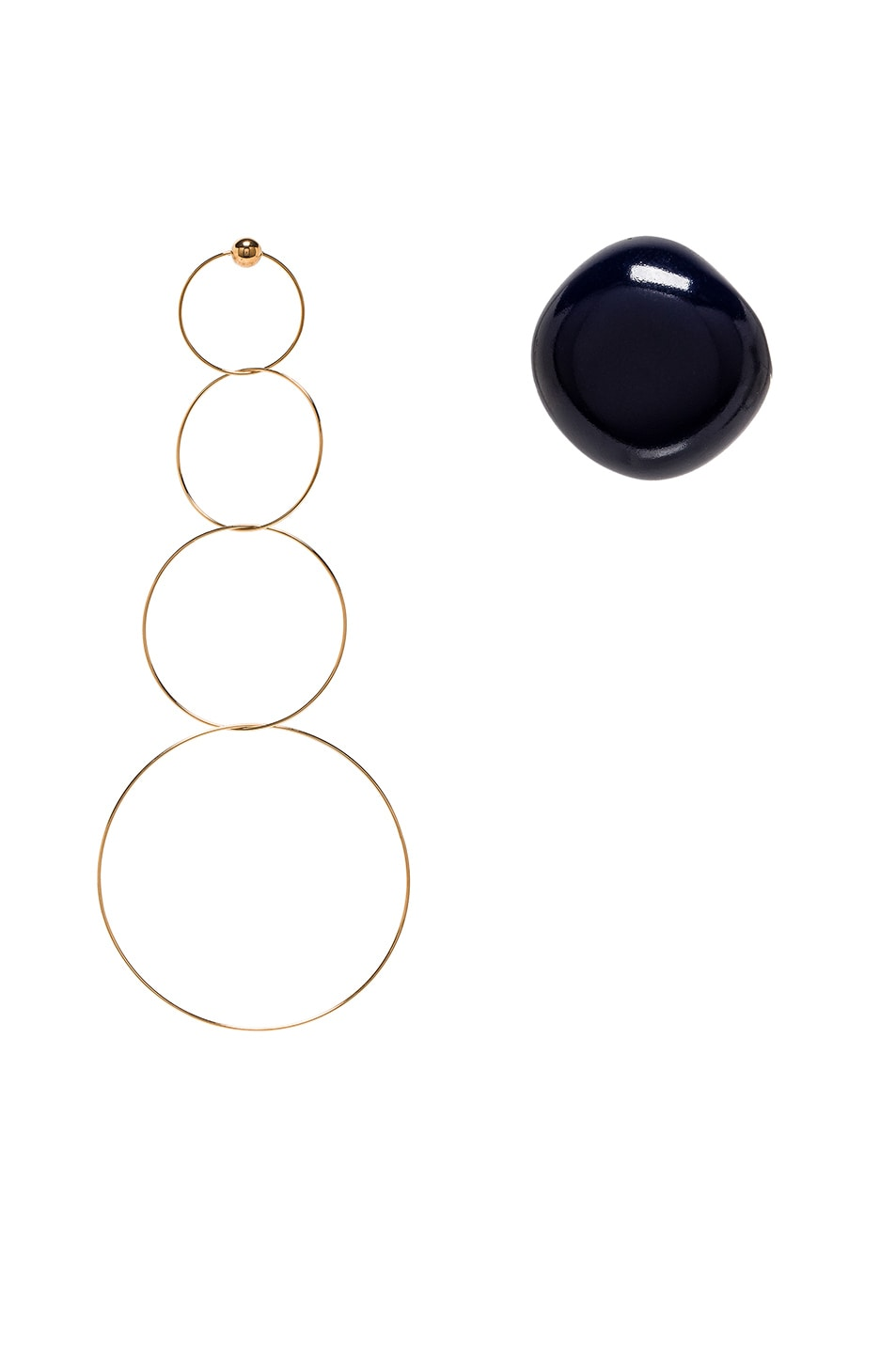 Image 1 of JACQUEMUS Soraya Earrings in Gold & Navy