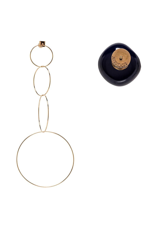 Image 3 of JACQUEMUS Soraya Earrings in Gold & Navy