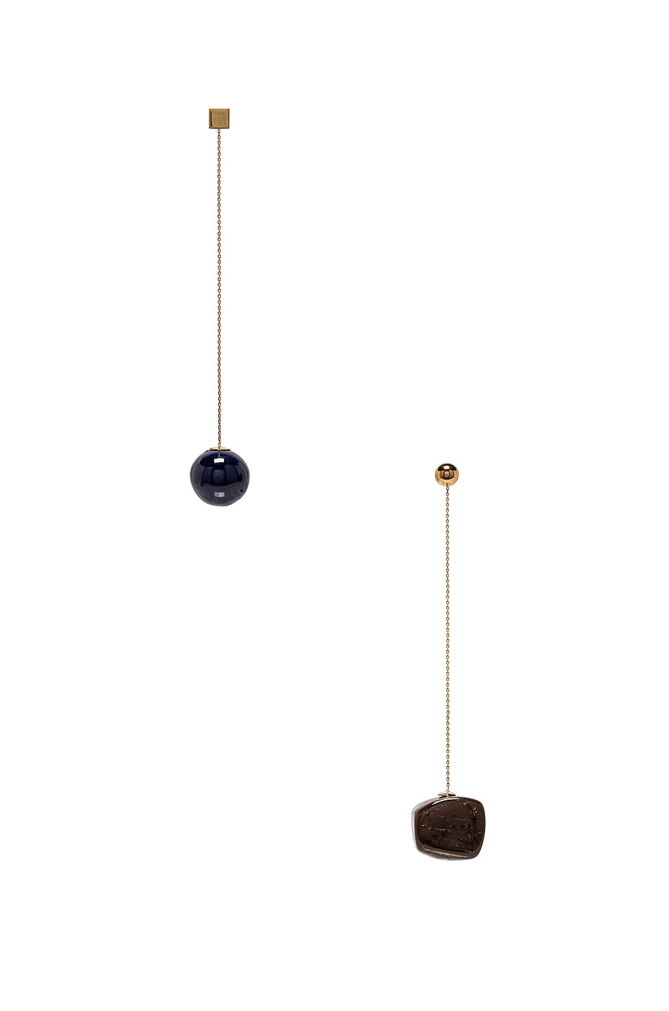 Image 1 of JACQUEMUS Dalila Earrings in Navy, Brown & Gold