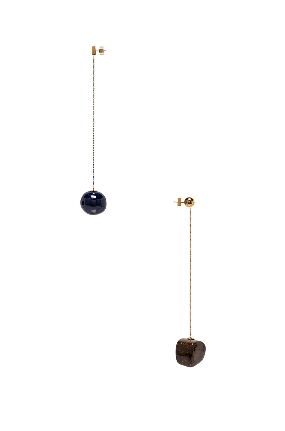 Image 3 of JACQUEMUS Dalila Earrings in Navy, Brown & Gold