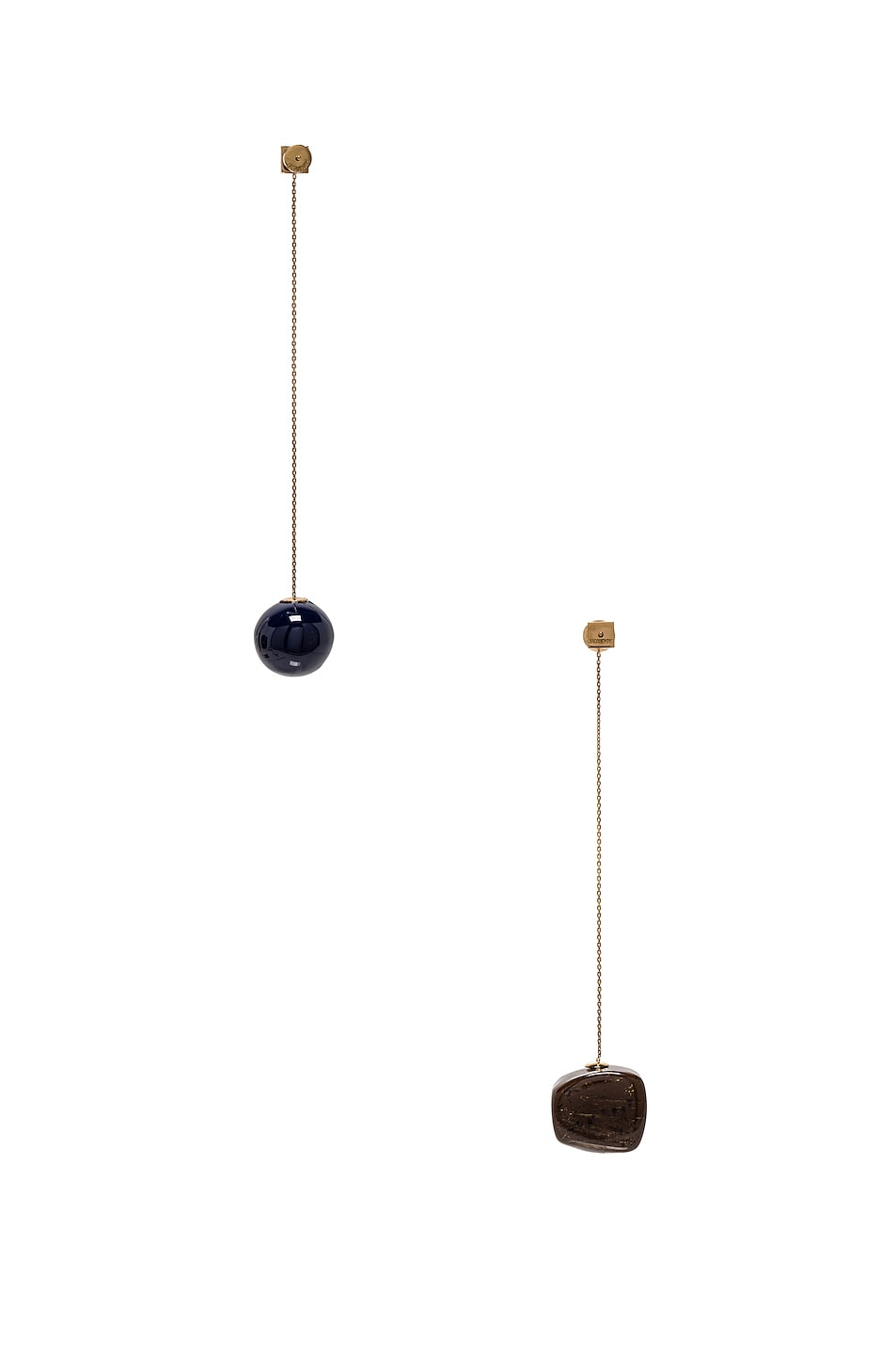 Image 4 of JACQUEMUS Dalila Earrings in Navy, Brown & Gold