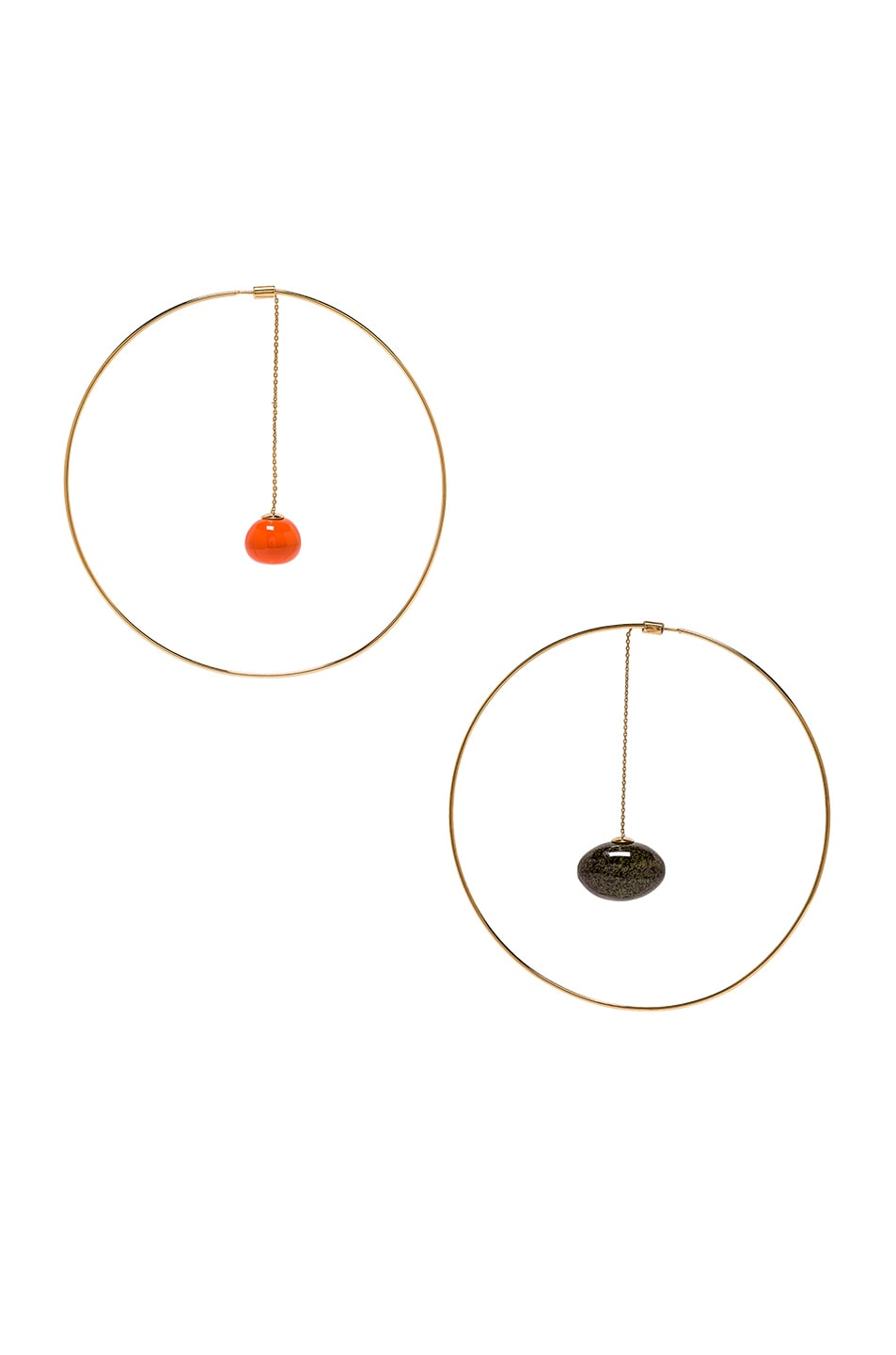 Image 1 of JACQUEMUS Orange Olive Earrings in Orange, Green & Gold
