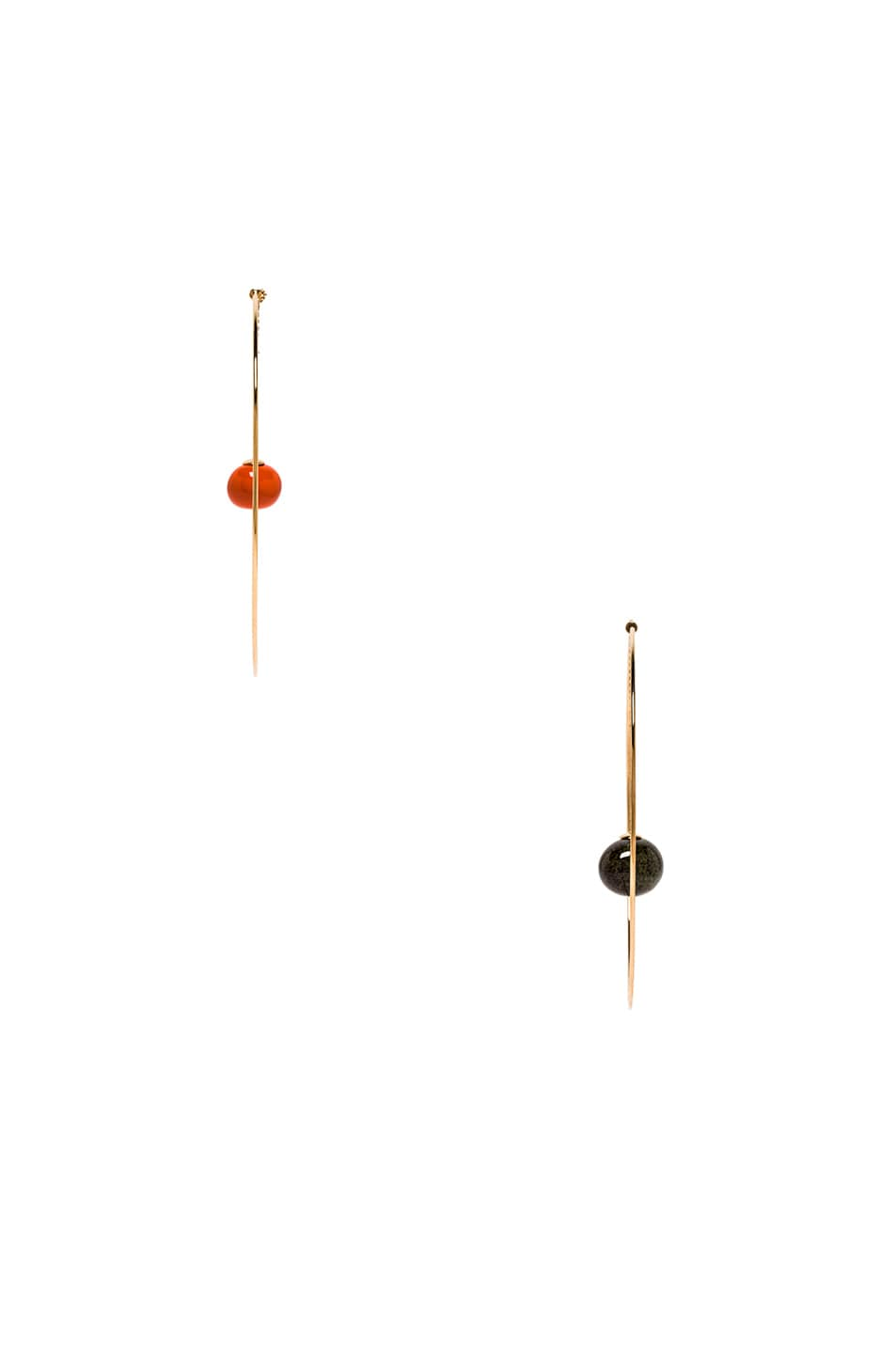 Image 2 of JACQUEMUS Orange Olive Earrings in Orange, Green & Gold