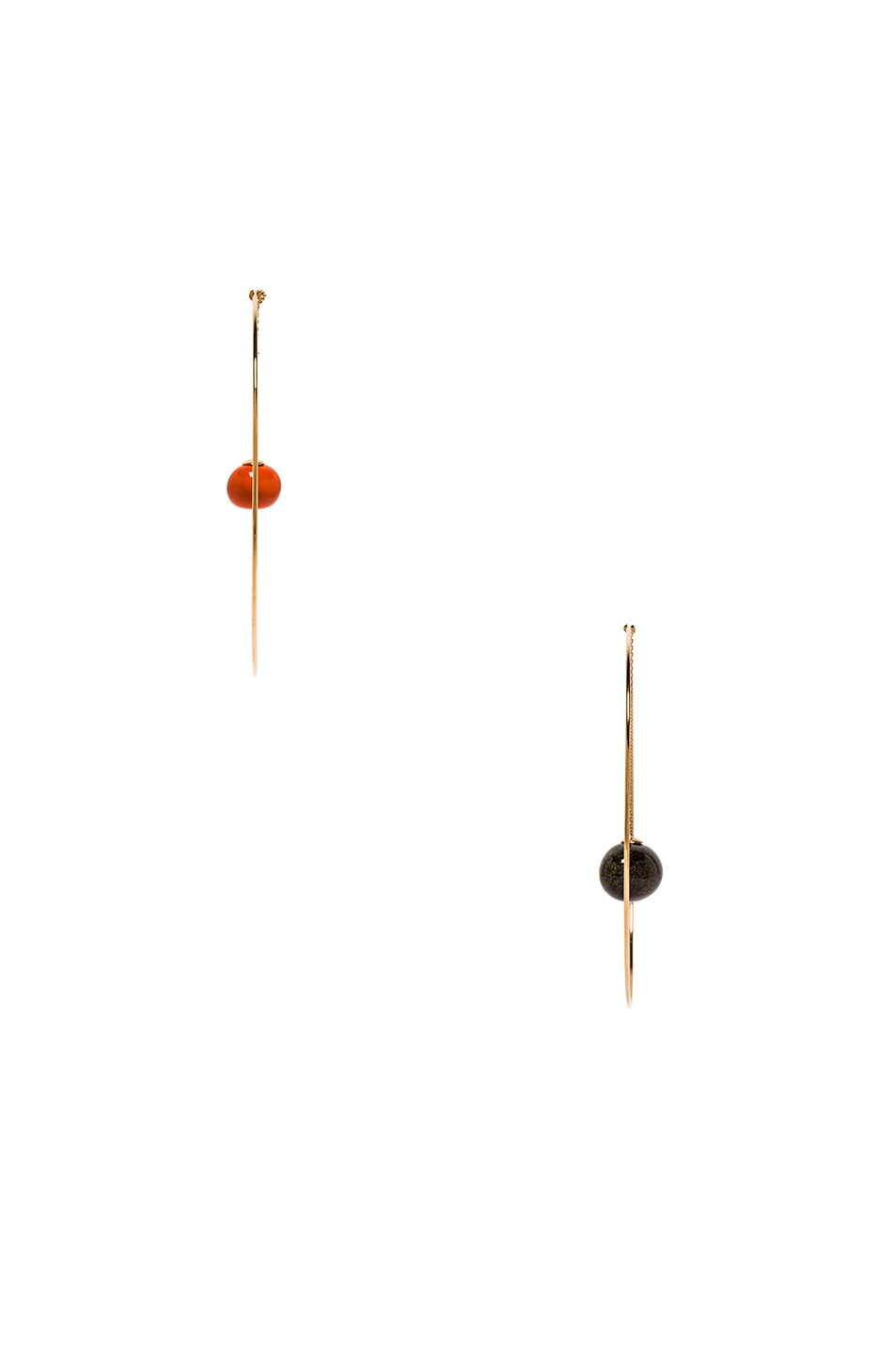 Image 3 of JACQUEMUS Orange Olive Earrings in Orange, Green & Gold