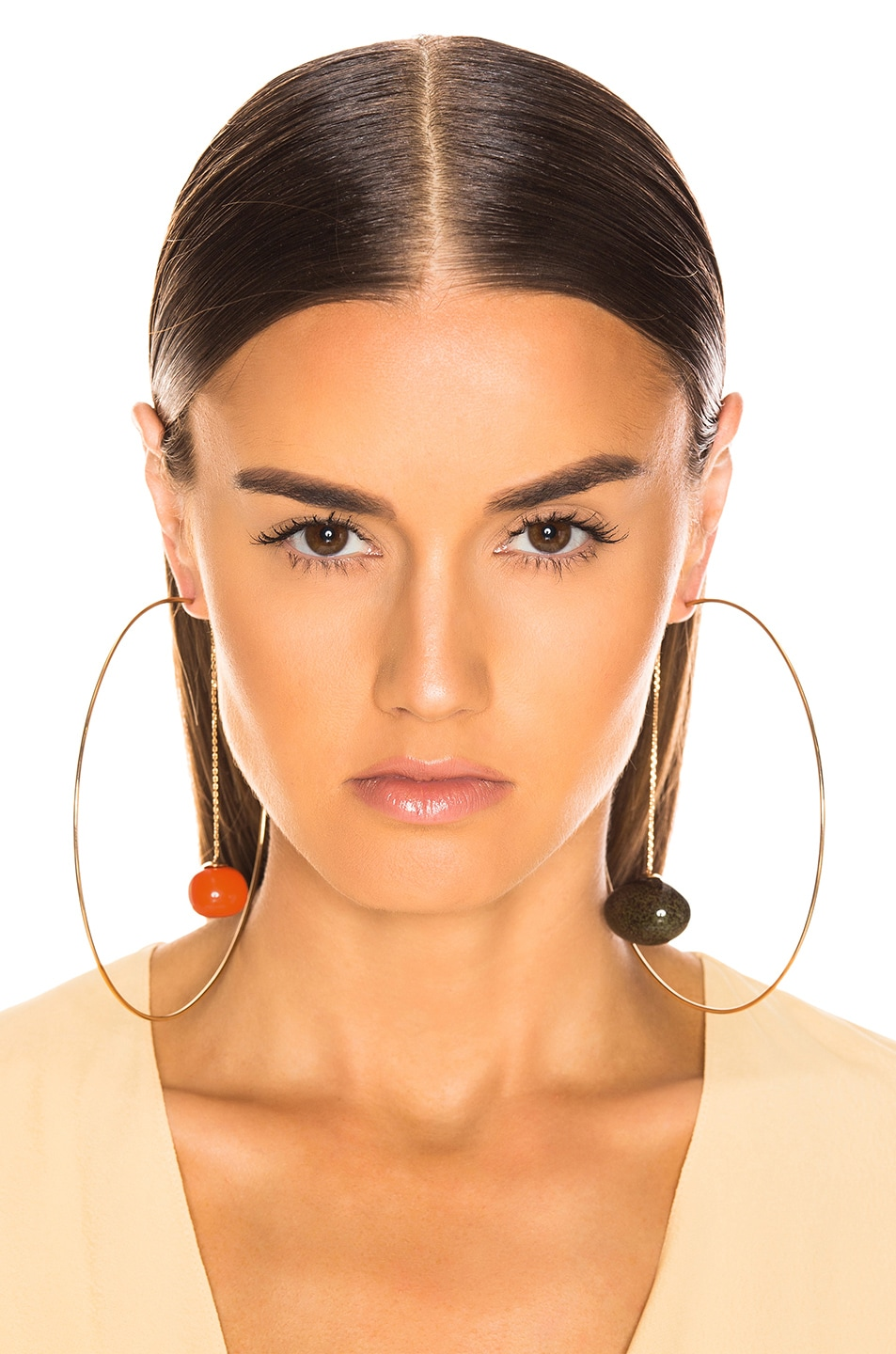 Image 4 of JACQUEMUS Orange Olive Earrings in Orange, Green & Gold