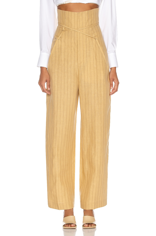 Image 1 of JACQUEMUS Le Pantalon Novio in Yellow & Brown Stripes