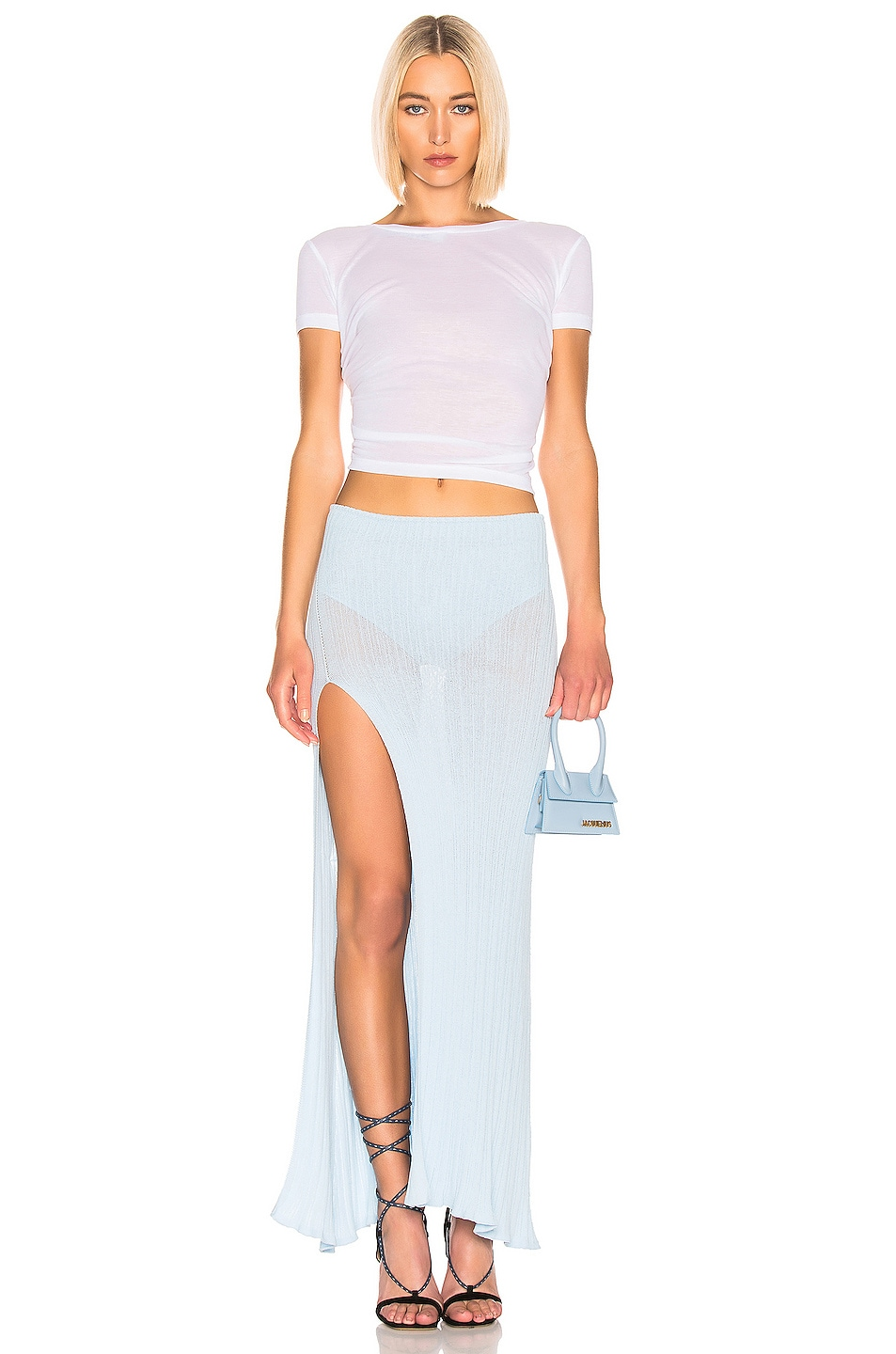 Image 4 of JACQUEMUS Long Sanremo Skirt in Baby Blue