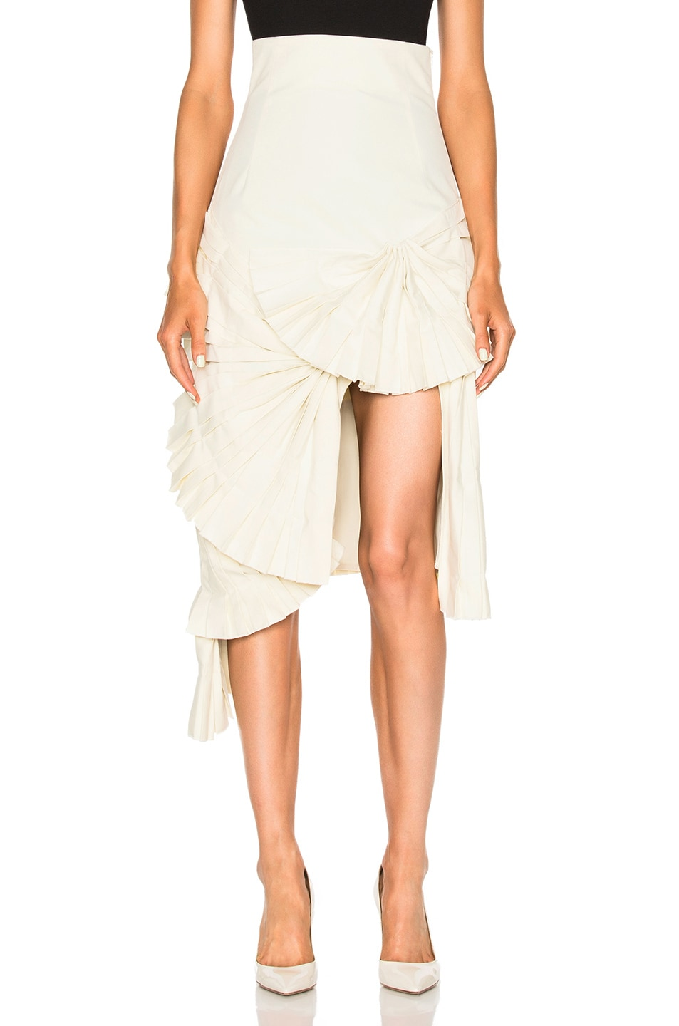 Image 1 of JACQUEMUS Ruffle Detail Asymmetrical Skirt in Beige