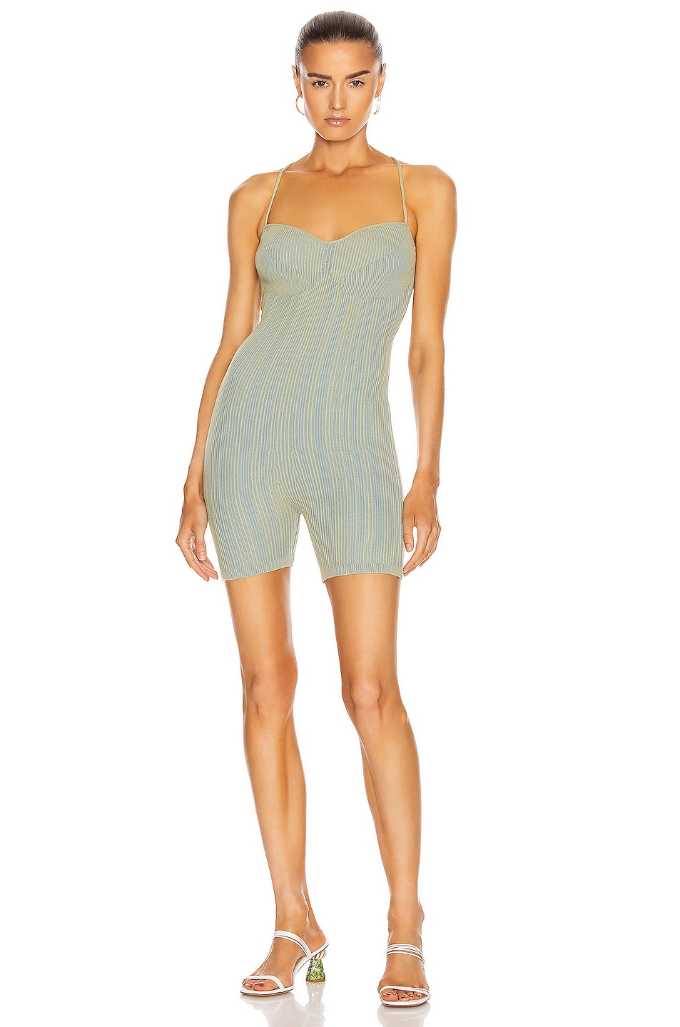 Image 1 of JACQUEMUS Le Body Arancia in Green Striped