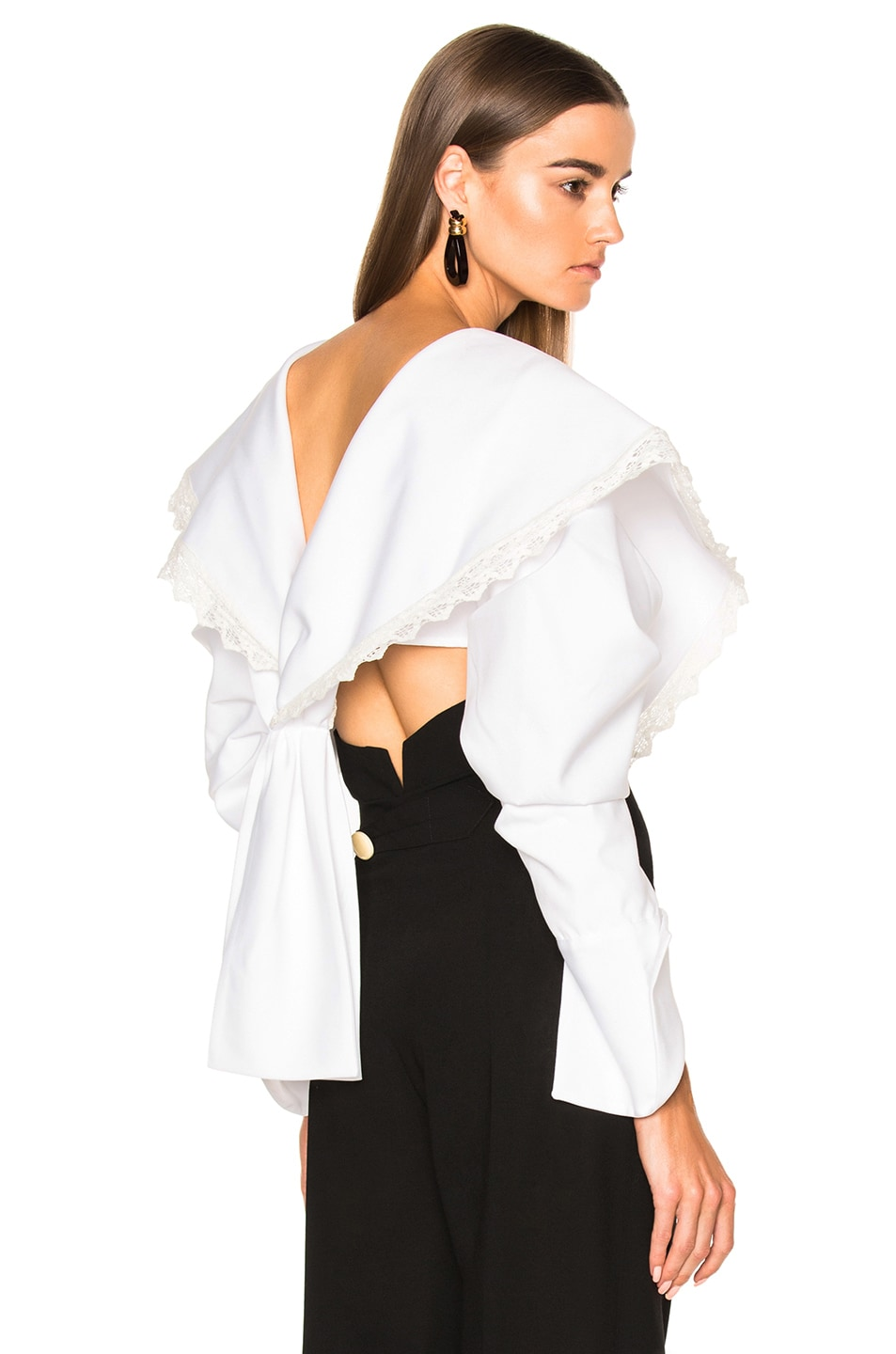 Image 1 of JACQUEMUS Cropped Long Sleeve Blouse in White