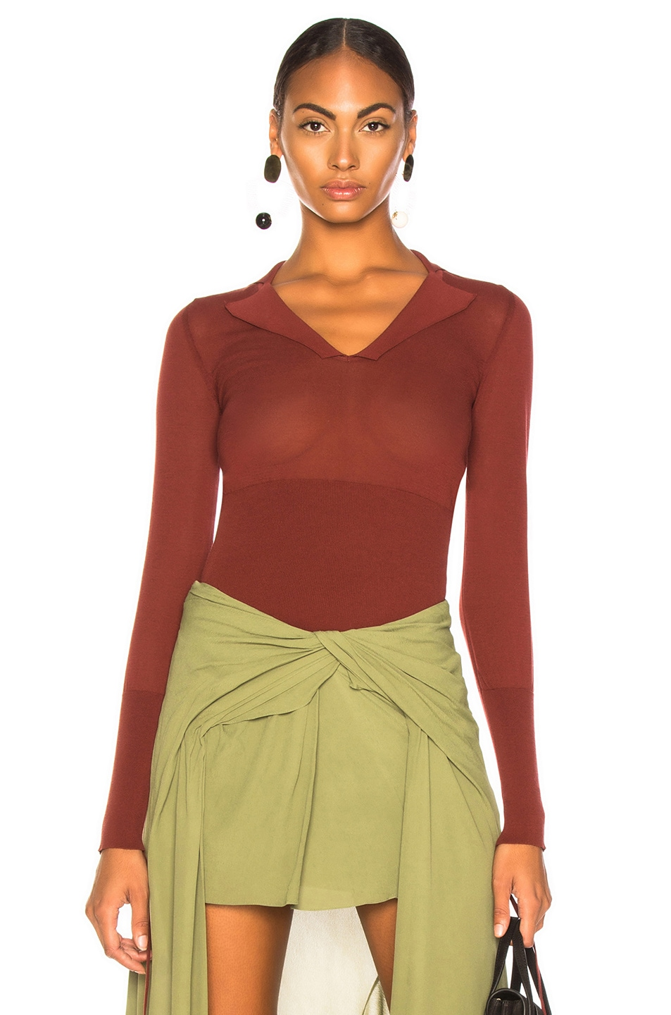 Image 1 of JACQUEMUS Praia Knit Top in Dark Red