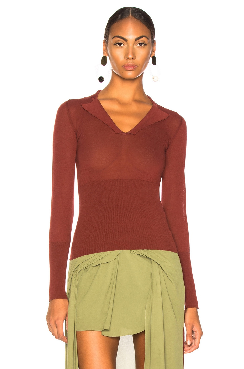 Image 2 of JACQUEMUS Praia Knit Top in Dark Red