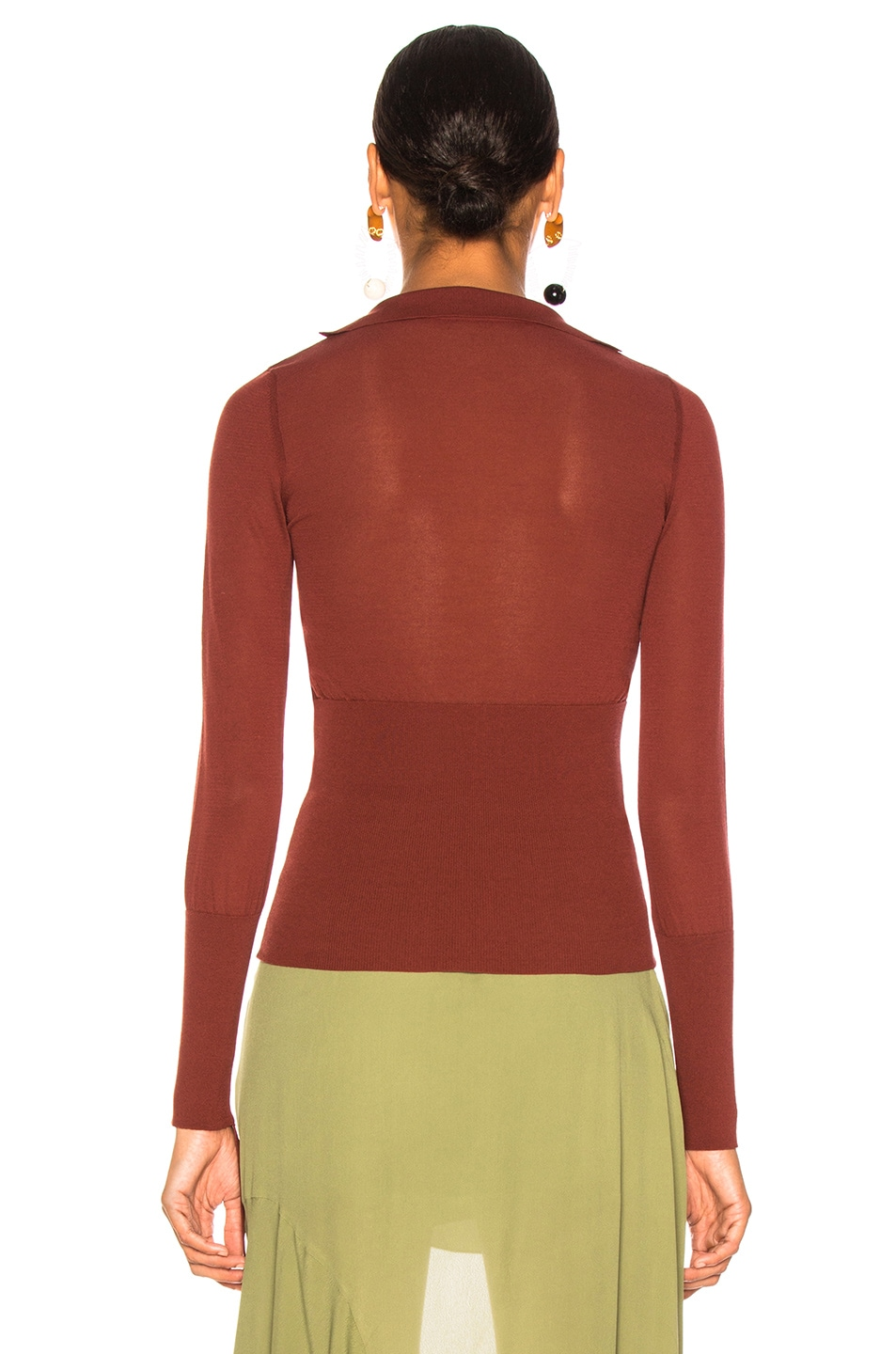 Image 4 of JACQUEMUS Praia Knit Top in Dark Red