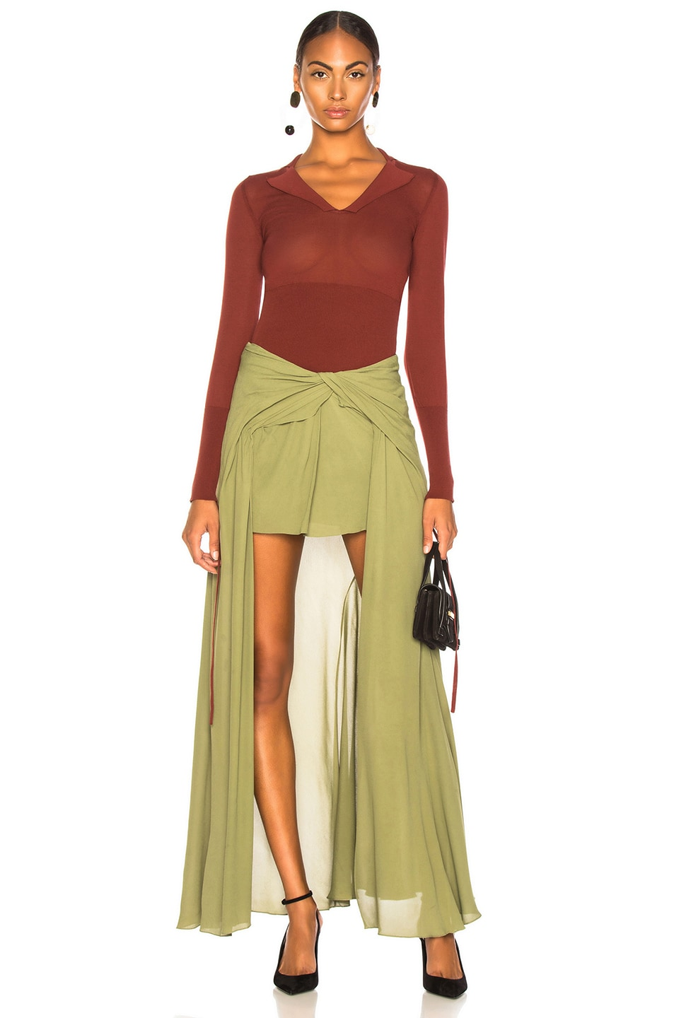 Image 5 of JACQUEMUS Praia Knit Top in Dark Red