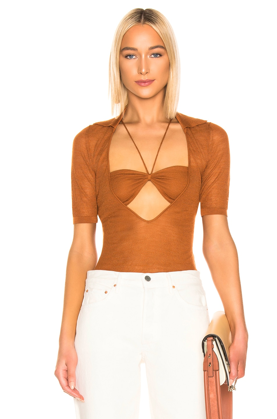 Image 1 of JACQUEMUS Piana Top in Brick Red