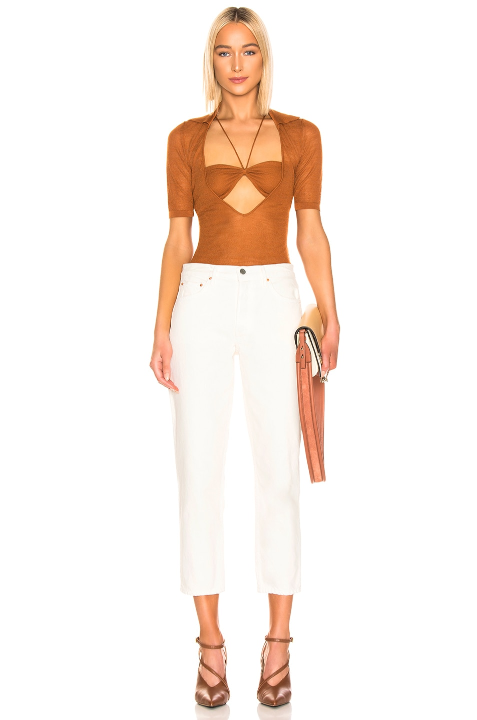 Image 4 of JACQUEMUS Piana Top in Brick Red