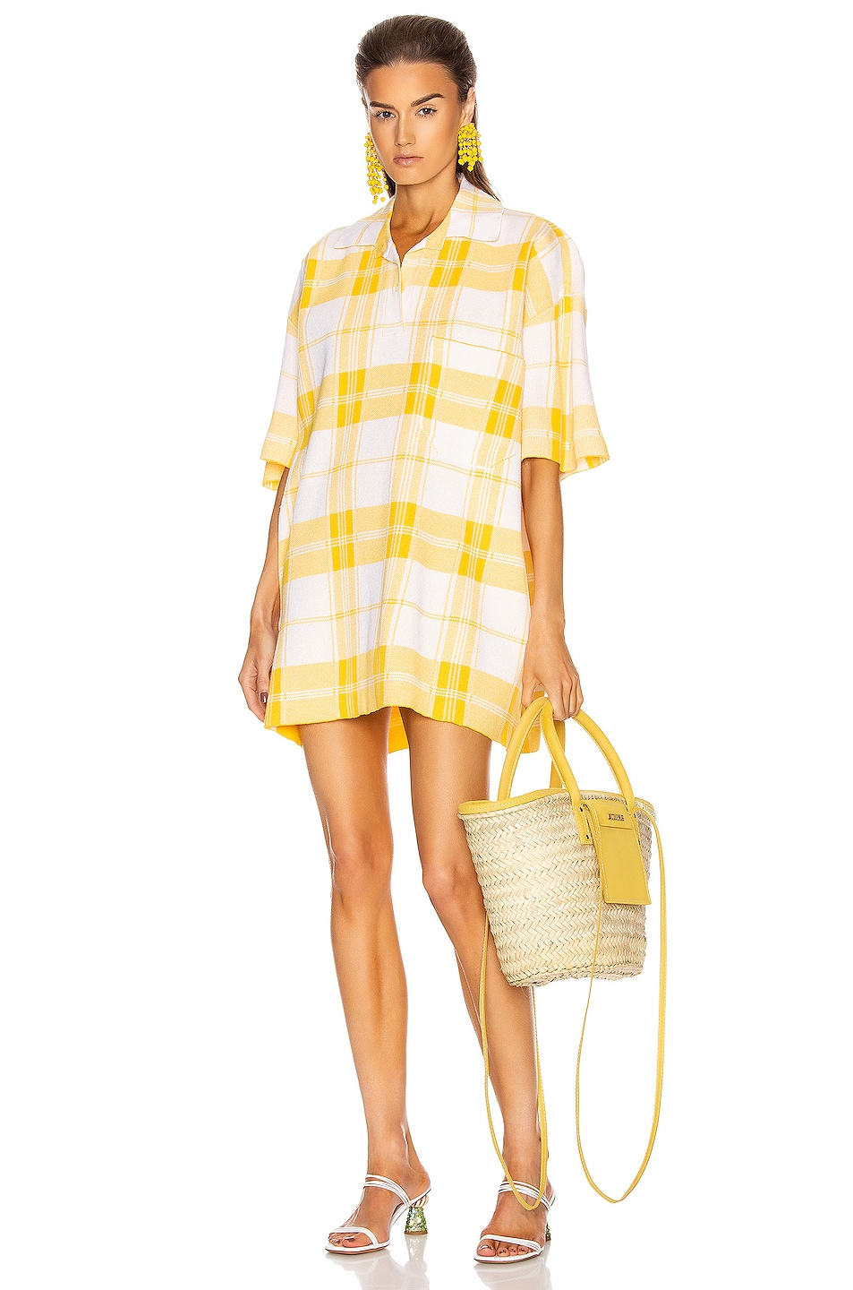 Image 1 of JACQUEMUS Le Polo Torchon in Yellow Check