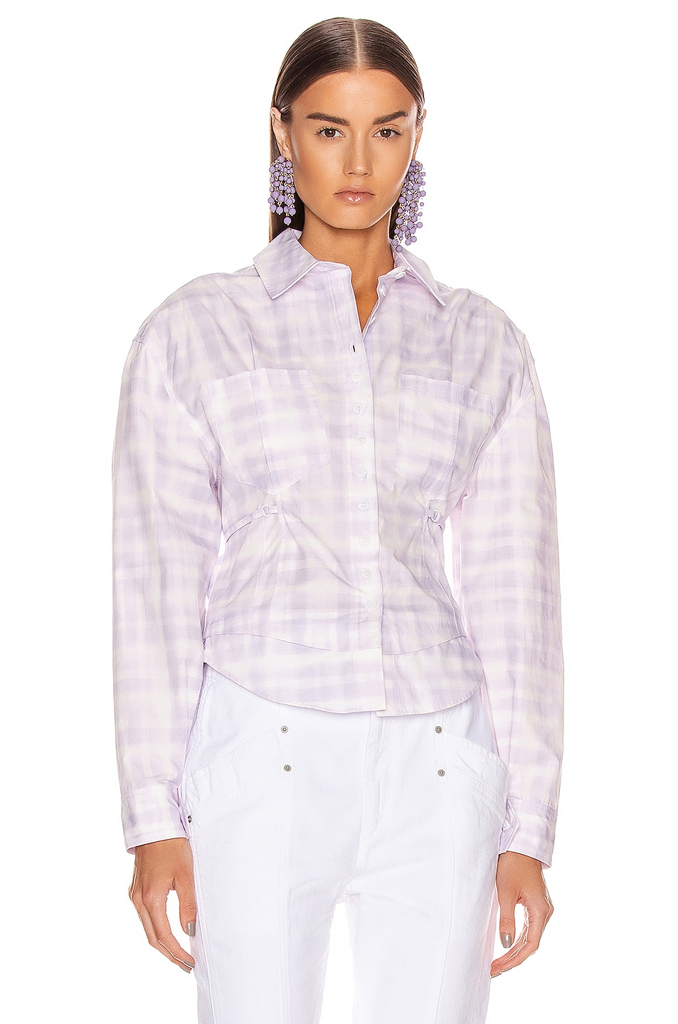 Image 1 of JACQUEMUS La Chemise Cueillette in Print Purple Checked